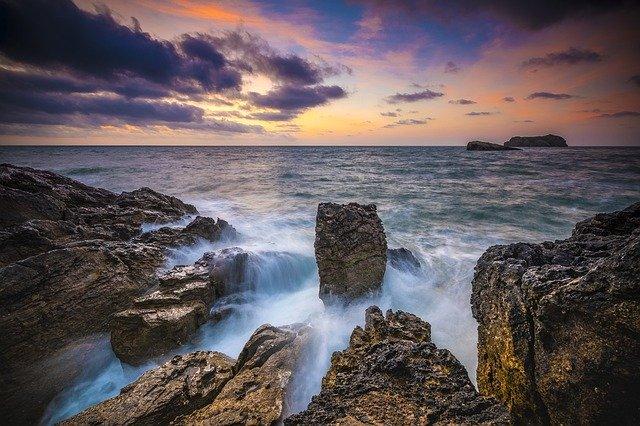 Water Rocks Sunrise Clouds Rock